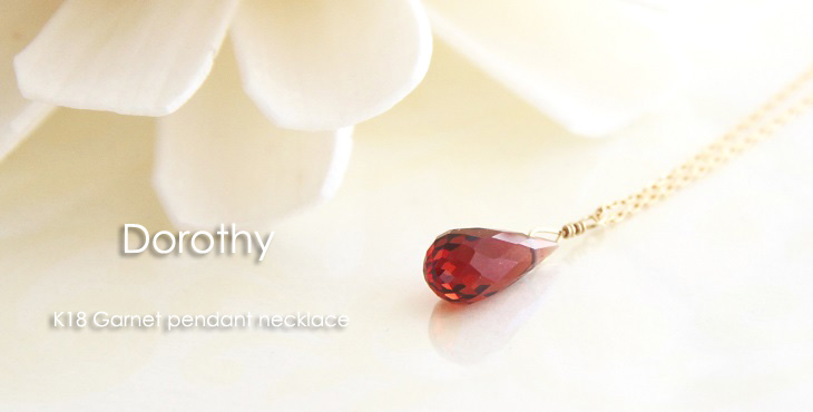 K18 dorothy garnet pendant necklace peach pink coral pendant necklace mozeypictures Gallery